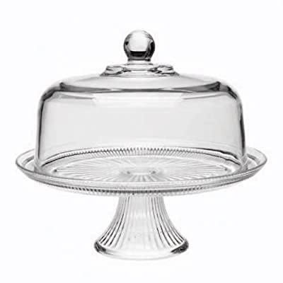 Cake Dome Set with Ribbed Stand - Clear Glass