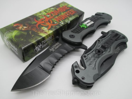 Z-Hunter Gray Tactical Rescue Quick Open Pocket Design Folding Knife Collector Serries