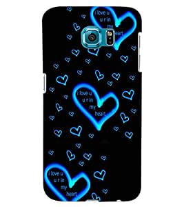 ColourCraft Lovely Heart Pattern Design Back Case Cover for SAMSUNG GALAXY S6 EDGE G925