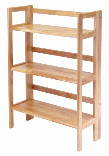 Winsome Wood Stackable/Folding 3-Tier Shelf, Natural
