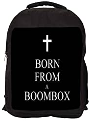 Snoogg Born From A Boombox Backpack Rucksack School Travel Unisex Casual Canvas Bag Bookbag Satchel