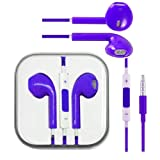 Purple Hi-Fi High Resolution Sound Stereo Fashion Sports Running GYM Headsets Earphones Earbuds Headphones headset With Remote, Mic & Volume Controls For Apple iPad 5/4/3/2/1, iPhone 5s 5 4 4s 3gs, Ipod Touch All Mp3 Mp4 Players Sony Creative Samsung, Al