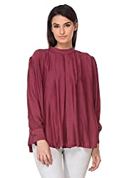 KAARYAH - Wine Full Sleeves Relaxed Fit Top