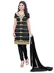 Latest Embroidered Chanderi Black Dress Material