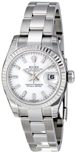 Rolex Datejust White Dial Fluted 18kt White Gold Bezel Ladies Watch 179174WSO