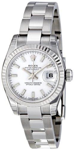 Rolex Datejust White Dial Fluted 18kt White Gold Bezel Ladies Watch 179174WSO
