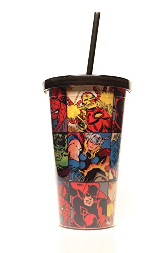 Marvel Silver Buffalo MV9124 Marvel Comics Grid Plastic Cold Cup, 16 oz, Multicolor