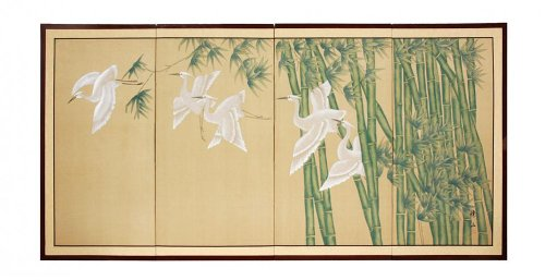"""Traditional Chinese & Japanese Paintings - 24"""" x 48"""" Bamboo Escape Oriental Decorative Wall Art Screen"""