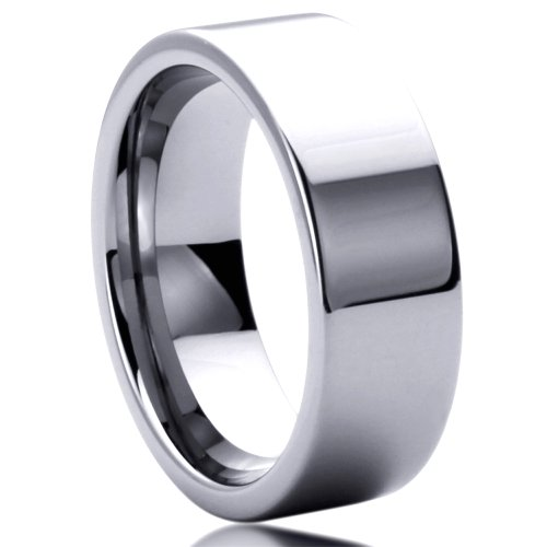 Unisex Men'S 8Mm Tungsten Comfort Fit Wedding Band Ring Flat Top Classy Ring ( Size 6 To 14) - Size: 8
