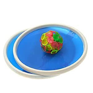 SODIAL(R) Blue Sticky Ball Game with 32 Suction Cup and 2 Round Bats