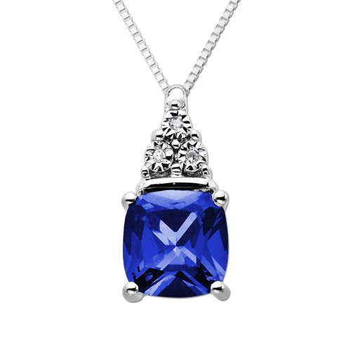 DiAura Sterling Silver Created Blue Sapphire and Diamond-Accent Pendant Necklace, 18