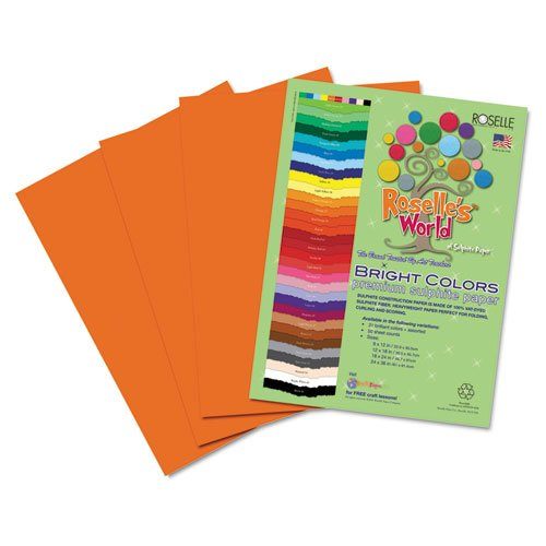Roselle Bright Colors Suphite Construction Paper, 9 x 12 Inches, Orange, 50 Sheets Per Package (72201)