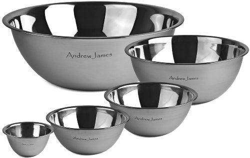 Andrew James Professional Stainless Steel 5 Piece Mixing Bowl Set - 0.5L, 1L, 2L, 5L & 10L