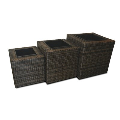 Square Rattan 3 Piece Planter Set Colour: Black