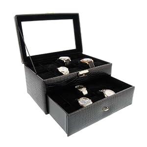 Mueble relojero expositor grabado coco negro 20 relojes tapa de cristal