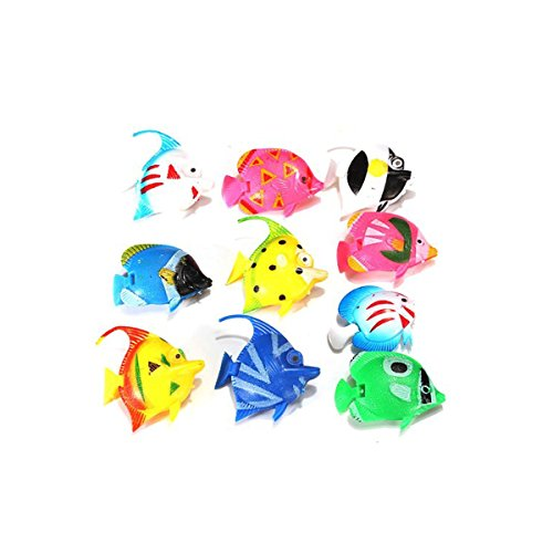 Tinksky 10pcs Lifelike Plastic Artificial Moving Floating Fishes Ornament Decorations for Aquarium Fish Tank (Random Color Pattern) (Moving Fish compare prices)