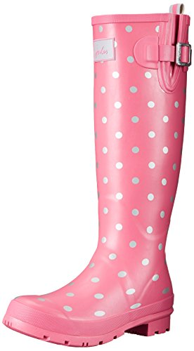 Joules Women's Welly Print Rain Boot, Pink Neon Spot White, 7 M US (Women Rain Boots Pink compare prices)