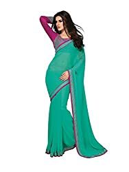 Subhash Sarees Daily Wear Cyan Color Chiffon Saree Sari Sarees