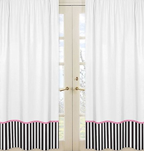 Pink, Black and White Stripe Paris Window Treatment Panels - Set of 2 (Interior Designer Glass Doors compare prices)