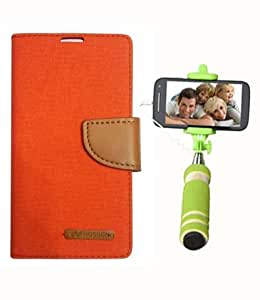 Aart Fancy Wallet Dairy Jeans Flip Case Cover for XperiaT2 (Orange) + Mini Fashionable Selfie Stick Compatible for all Mobiles Phones By Aart Store