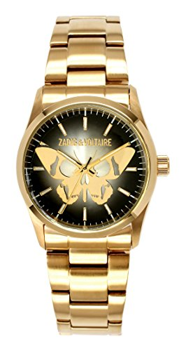 Zadig Voltaire ZV &002/AM-Rock Women's Watch Analogue Quartz Black Dial Gold Plated Steel Bracelet
