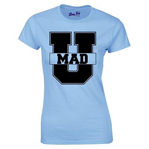 Women's U Mad Hipster Slogan Retro American College Fashion T Shirt White L