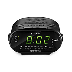 sony icf c318 clock radio with dual alarm black electronics. Black Bedroom Furniture Sets. Home Design Ideas