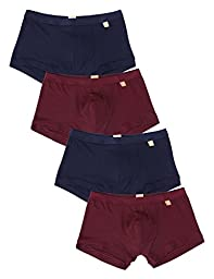David Archy Men\'s 4 Pack Micro Modal Air Low Rise Trunk (M, Wine Red+Navyblue)