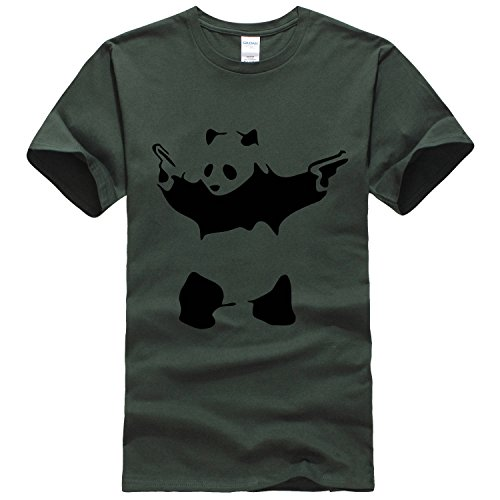 Bestong men's simple cute hardcore Panda T shirt Small Forest Green [parallel import goods]