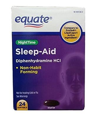 Equate Nighttime Sleep Aid Diphenhydramine 24ct Softgels (2 PACK)