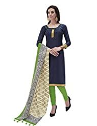 Desi Look Women's Blue Jacquard Cotton Patiyala Dress Material With Dupatta