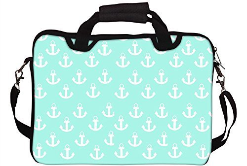 snoogg-light-blue-nautica-anchor-printed-laptop-sleeve-with-shoulder-strap-15-to-156