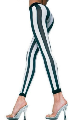 Music Legs Womens Black & White Stripe Leggings Footless Tights