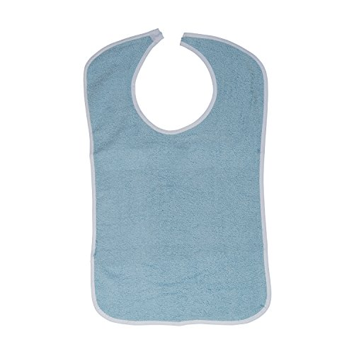 DMI Patient Clothing Protector Terry Cloth Adult Bib with Hook and Loop Closure for Men and Women, Blue