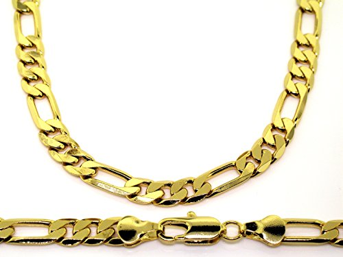 Figaro catena - in oro 24 K placcato oro - massive unacollana - Uomo - Hip Hop Bling - 6 mm