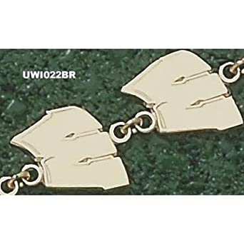 Wisconsin Badgers W 7 Bracelet - 14KT Gold Jewelry by Logo Art