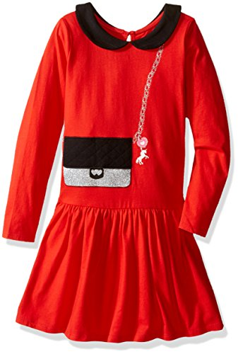 The Children's Place Girls' Long Sleeve Knit Dress, China Red, 12-18 Months
