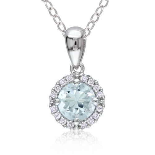 Sterling Silver Aquamarine and Diamond Pendant Necklace (0.1 cttw, G-H Color, I2-I3 Clarity), 18