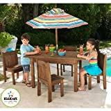 Table & Stacking Chairs & Striped Umbrella
