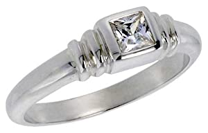 Sterling Silver .30 Carat Size Princess Cut Cubic Zirconia Solitaire Bridal Ring (Available in Sizes L to T) size T