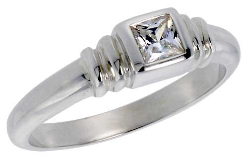 Sterling Silver .30 Carat Size Princess Cut Cubic Zirconia Solitaire Bridal Ring (Available in Sizes 6 to 10) size 7