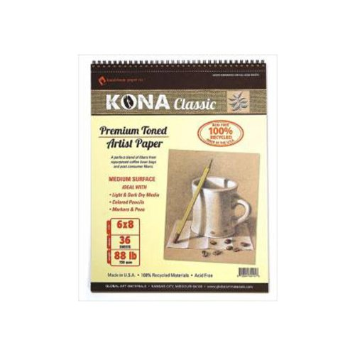 Global Art Materials Kona Classic Toned Artist Paper Pad, 6 By 8-Inch