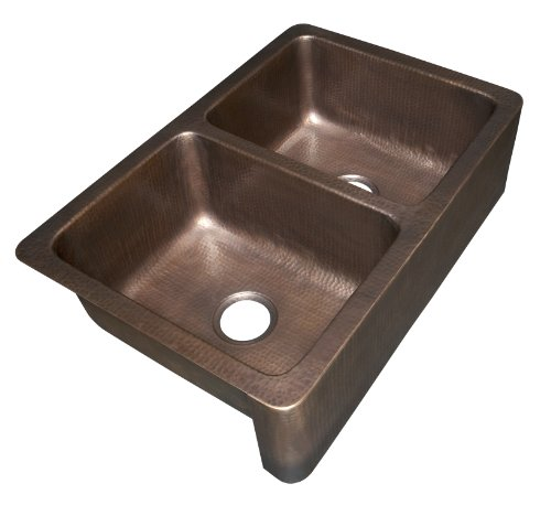 ECOSINKS K2A-1005ND Farmhouse Apron Front Dual Mount 0-Hole Double Bowl Farmhouse Kitchen Sink, Hammered Antique Copper
