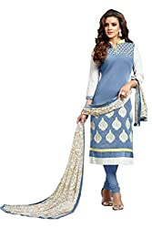 Shree Collection Grey Color Chanderi Dress Material