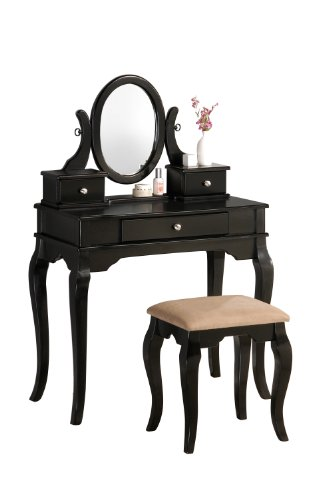 Best Review Of Bobkona Rylan Vanity Set with Stool, Black