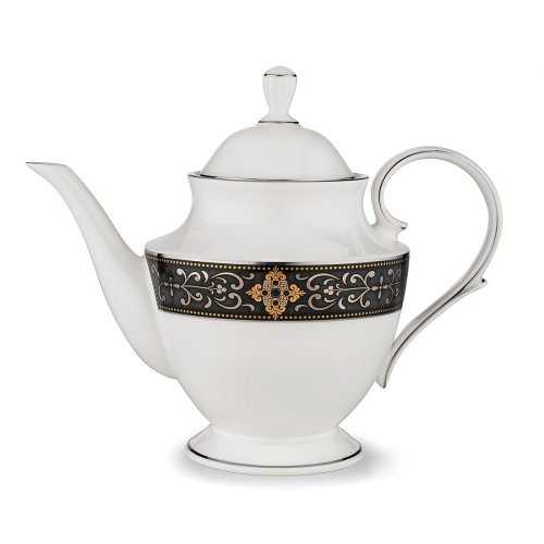 Lenox Vintage Jewel Platinum Banded Bone China Teapot