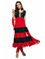 Trendz Apparels Red And Green Net Brasso And Velvet Anarkali Suit Salwar Suit