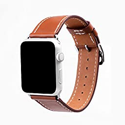 eLander 3963137 Apple Watch Band, eLander; Luxury Genuine Leather strap Bracelet Replacement Wrist Band With Adapter Clasp for iWatch Apple & Sport & Edition- Single Tour - Brown - 42mm