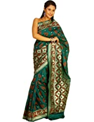 Exotic India Storm-Green Banarasi Sari With All-Over Woven Leaves And Br - Green