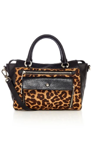 Pocket front leopard box bag
